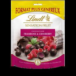 Bouchées de chocolat noir et c ur à la framboise et au cranberry sensation fruit LINDT, sachet de 160g