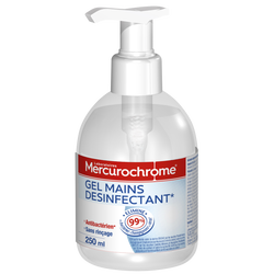 Gel mains antibactérien hydroalcoolique MERCUROCHROME, flacon de 250ml