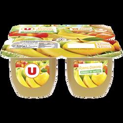 Dessert de fruits pomme/banane allégé en sucre U, 4x100g