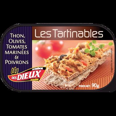 Tartinable thon olives/tomates marinées&poivrons LES DIEUX, 90g
