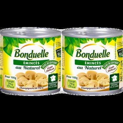 Champignons émincés au naturel BONDUELLE, 2 boîtes de 230g