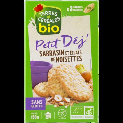 Biscuits pour petit dejeuner au sarasin et aux éclats de noisettes bio TERRE ET CEREALES, paquet de 150g