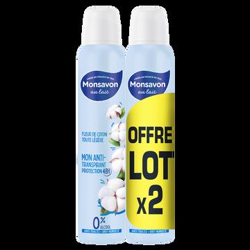 Monsavon Déodorant Douceur Naturelle Lait Et Coton Monsavon, 2x200ml