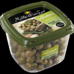 Olives entières en persillade ail et persil MILLE ET UN SUD, barquettede 400g