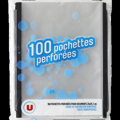 Pochettes perforées U, 21x29,7cm , pack de 100