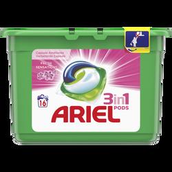 Lessive liquide fresh pink pods ARIEL, boîte de 16 doses soit 432g