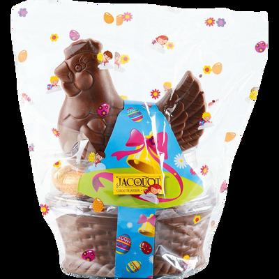 Poule couveuse chocolat au lait garnie oeufs praliné JACQUOT, 250G