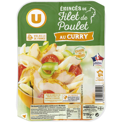Emincés de filet de poulet au curry U, 150g