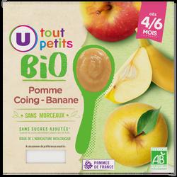 Pots dessert à la pomme coing et banane Tout Petits Bio U, de 4 à 6 mois, 4x100g