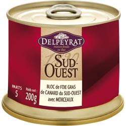 Bloc foie gras canard 100% sud-ouest 30% de morceaux DELPEYRAT, 200g