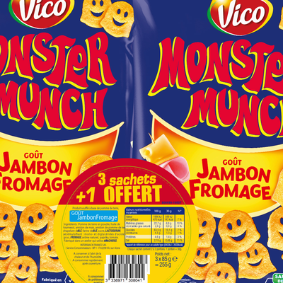Chips jambon fromage MONSTER MUNCH VICO, 3 sachets de 85g + 1 offert