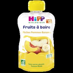 Gourde pêches pommes bananes bio HIPP, dès 12 mois, 120g
