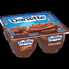 Dessert lacté au chocolat sous mousse fouettée au cacao le liégeois sensation DANETTE, 4x100g