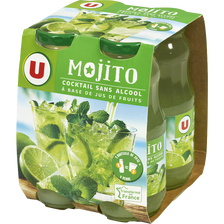 Cocktail sans alcool à base de jus de fruits Mojito U, 4 bouteilles enverre de 20cl