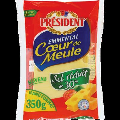 Fromage au lait de vache pasteurisé Emmental,  28% de MG, au sel réduit PRESIDENT, plaquette de 350g