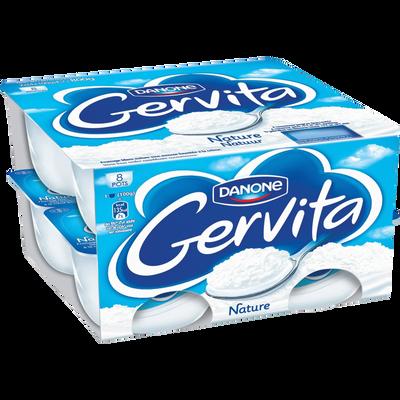 Fromage blanc pasteurisé sous mousse fouettée à la crème GERVITA, 3.6%de MG, 8x100g