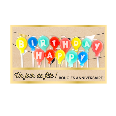 "Bougies ballons sur pics ""Happy Birthday"" DEVINEAU"