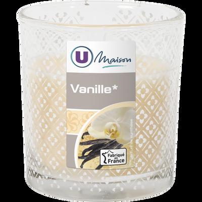 Contenant droit décoré U MAISON, en verre, avec bougie parfumée vanille, ivoire