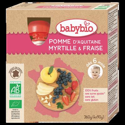 Gourdes pomme myrtille fraise BABYBIO, 4x90g soit 360g