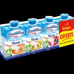Crème UHT fluide légère 12% de matière grasse BRIDELICE, 3x20cl + 1 offert