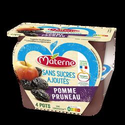 Dessert fruits sans sucre ajouté pomme pruneau MATERNE, 4x100g