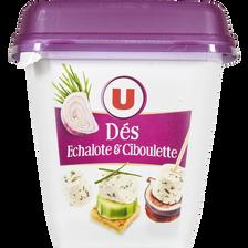 Spécialité fromagère au lait pasteurisé dés de salade échalote ciboulette, U, 29,6% de MG, pot de 120g