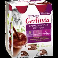 Repas à Boire minceur chocolat GERLINEA, 4 bouteilles en plastique de236ml