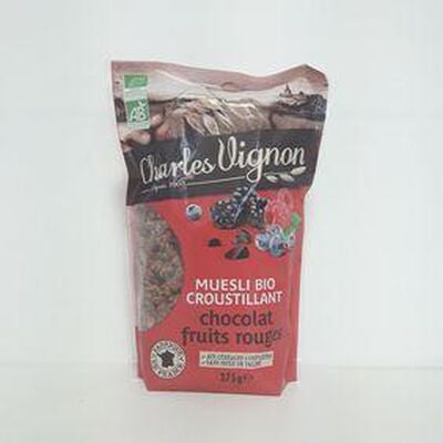 Muesli bio chocolat fruits rouges CHARLES VIGNON sachet 375g