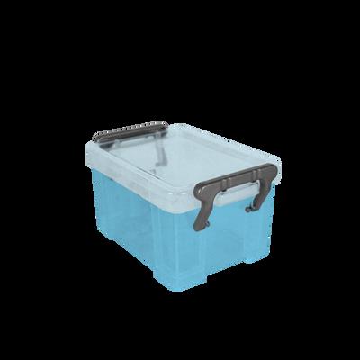 Boite de rangement, en polypropylène, 0,13l, bleu translucide, idéalepour ranger les accessoires de bureau