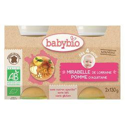 Pot Mirabelle Pomme BABYBIO dès 4 mois 2x130g