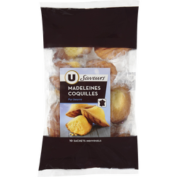 Madeleines coquilles pur beurre U SAVEURS, 10 unités, 330g