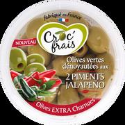 Croc' frais Olive Verte Dénoyautée 2 Piments Jalapeno, Croc Frais, Barquette, 150g