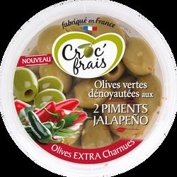 Olive verte dénoyautée 2 piments Jalapeno, CROC FRAIS, barquette, 150g