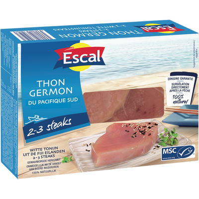 Pavés de thon germon MSC ESCAL, x2 soit 250g
