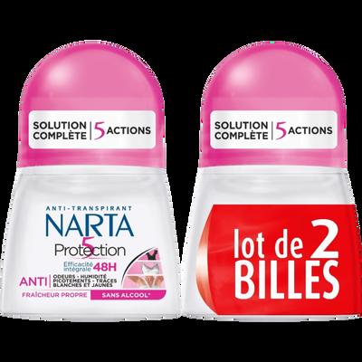 Déodorant femme protection 5 NARTA, 2 billes de 50ml