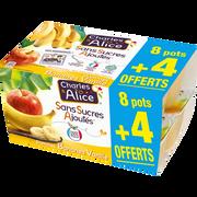 Charles & Alice Desserts Aux Fruits Pomme/banane Vanille Sans Sucre Ajouté Charles & Alice 8x100g + 4 Offerts