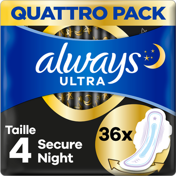Always Serviettes Hygiéniques Avec Ailettes Taille 4 Secure Night Ultraalways X36