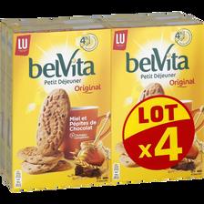 LU Biscuits Aux Céréales Au Miel De Fleurs Et Aux Pépites De Chocolat Belvita, 4 Paquets De 435g