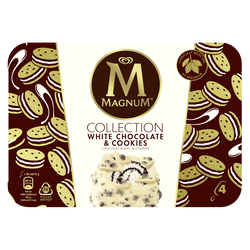 Glace Bâtonnets MAGNUM COLLECTION Chocolat blanc Cookie x4