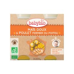 BABYBIO Maïs Doux Poulet Fermier du poitou 2x200grs