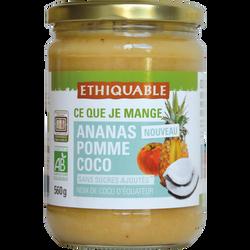 Purée d'ananas, pomme et coco Bio ETHIQUABLE, 560g