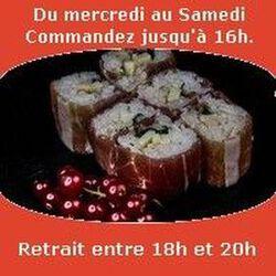 Mont Blanc rolls 6 pièces,Jambon fumé mayo ponzu roquette tomme céronnée noisettes,SUSHI MONT BLANC