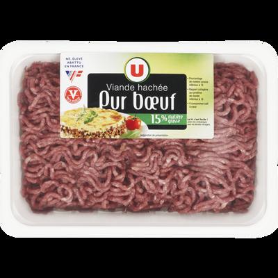 Viande hachée pur boeuf, 15% MAT.GR., U, 500g, France, VBF 100% muscle, barquette, 500g