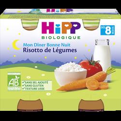 Petit pot bio pour bébé risotto de légumes HIPP, dès 8 mois, 2x190g