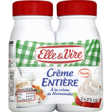 Crème UHT entière 30%mg  ELLE & VIRE, 2x25cl