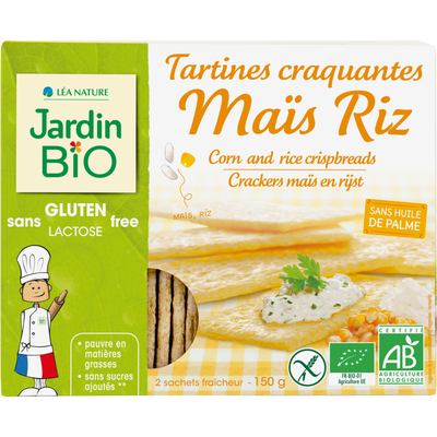 Tartines craquantes mais riz  sans gluten JARDIN BIO, étui de 150g
