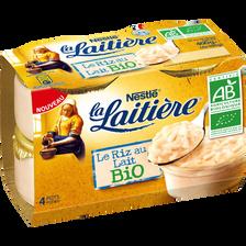 Nestlé Riz Au Lait Nature Bio La Laitiere, 4x100g