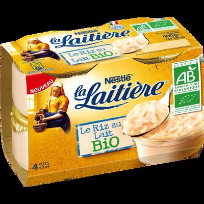 Riz au lait nature bio LA LAITIERE, 4X100g