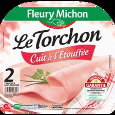 Jambon découenné Le Torchon cuit à l'étouffée VPF FLEURY MICHON, 2 tranches, 80g