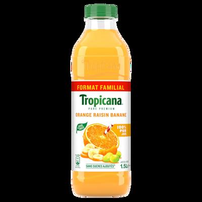 Jus d'orange raisin banane Pure Prémium TROPICANA, 1,5litre